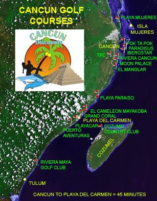 Cancun and Riviera Maya Golf Courses Map