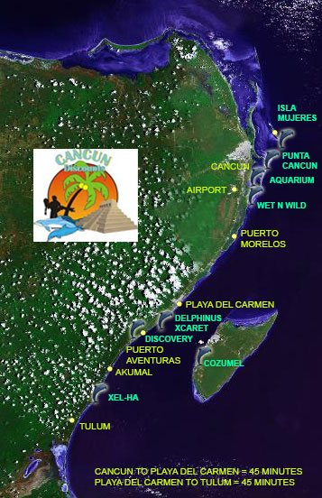 Dolphin Swim Map, Cancun and Riviera Maya