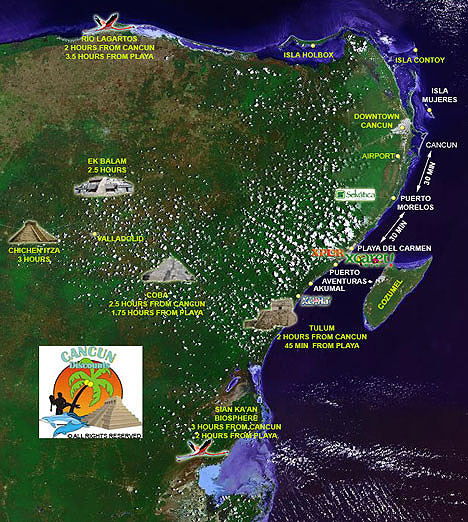 Map of Riviera Maya and Cancun Attractions