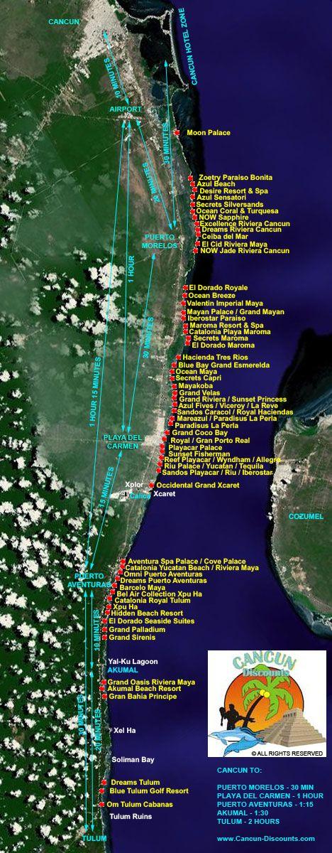 Riviera Maya Hotel Map Map of Riviera Maya Hotels