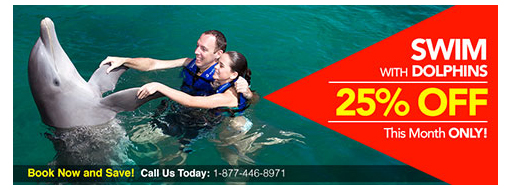 SWIM WITH DOLPHINS and save up to 25%